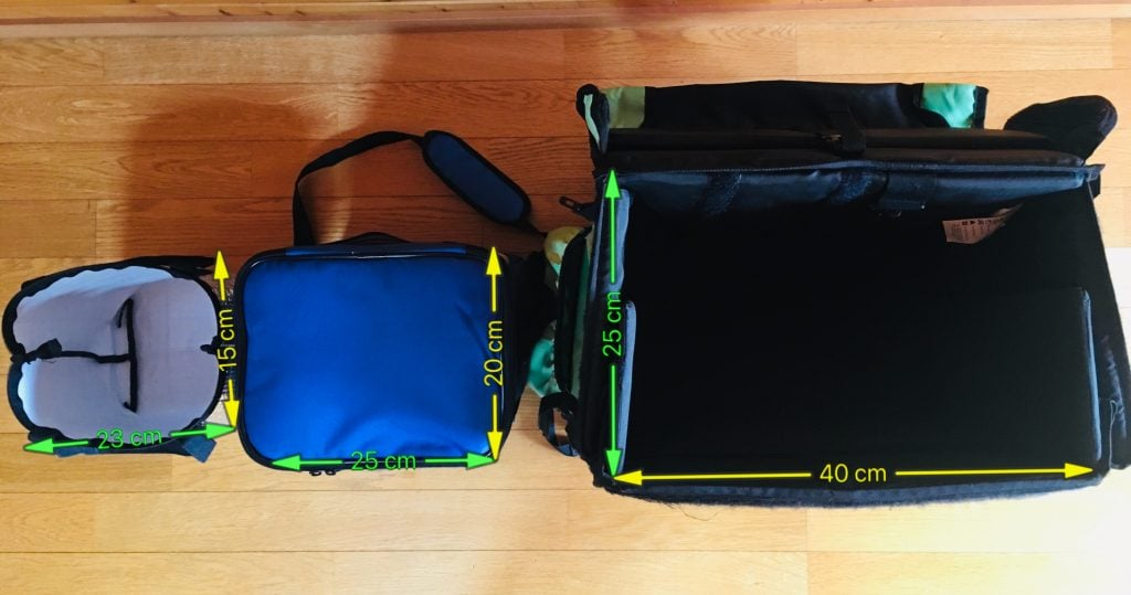 ウバッグ、インナーバッグサイズ比較 上から