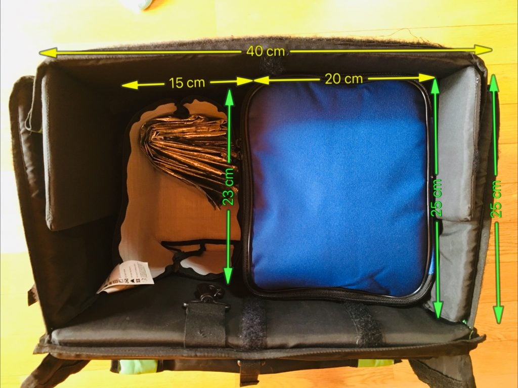 ウバッグ、インナーバッグサイズ比較 装着