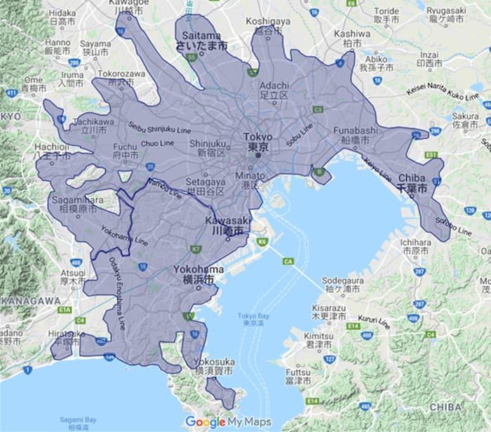 Uber Eats東京都、埼玉県、千葉県、神奈川県の配達エリア