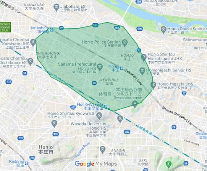 Uber Eats本庄 配達エリア