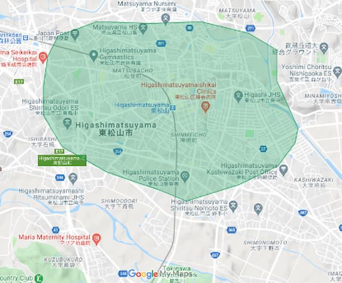 Uber Eats東松山 配達エリア