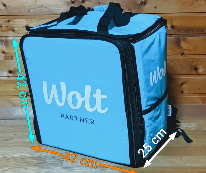 Wolt(ウォルト) 配達バッグ 通常時 サイズ